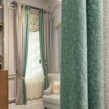 一米纯色提花拼接窗帘