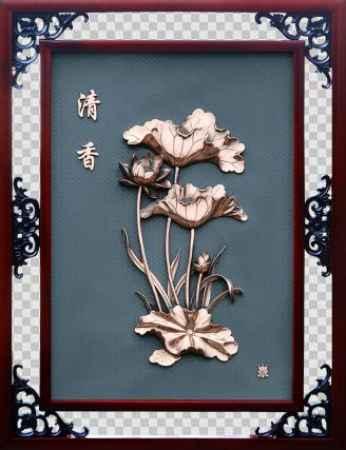河北荷花铜画紫铜浮雕