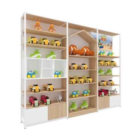 玩具柜钢木展示架单面货架